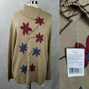 New Floral Embroidered Sweater Plus Size 22 3X